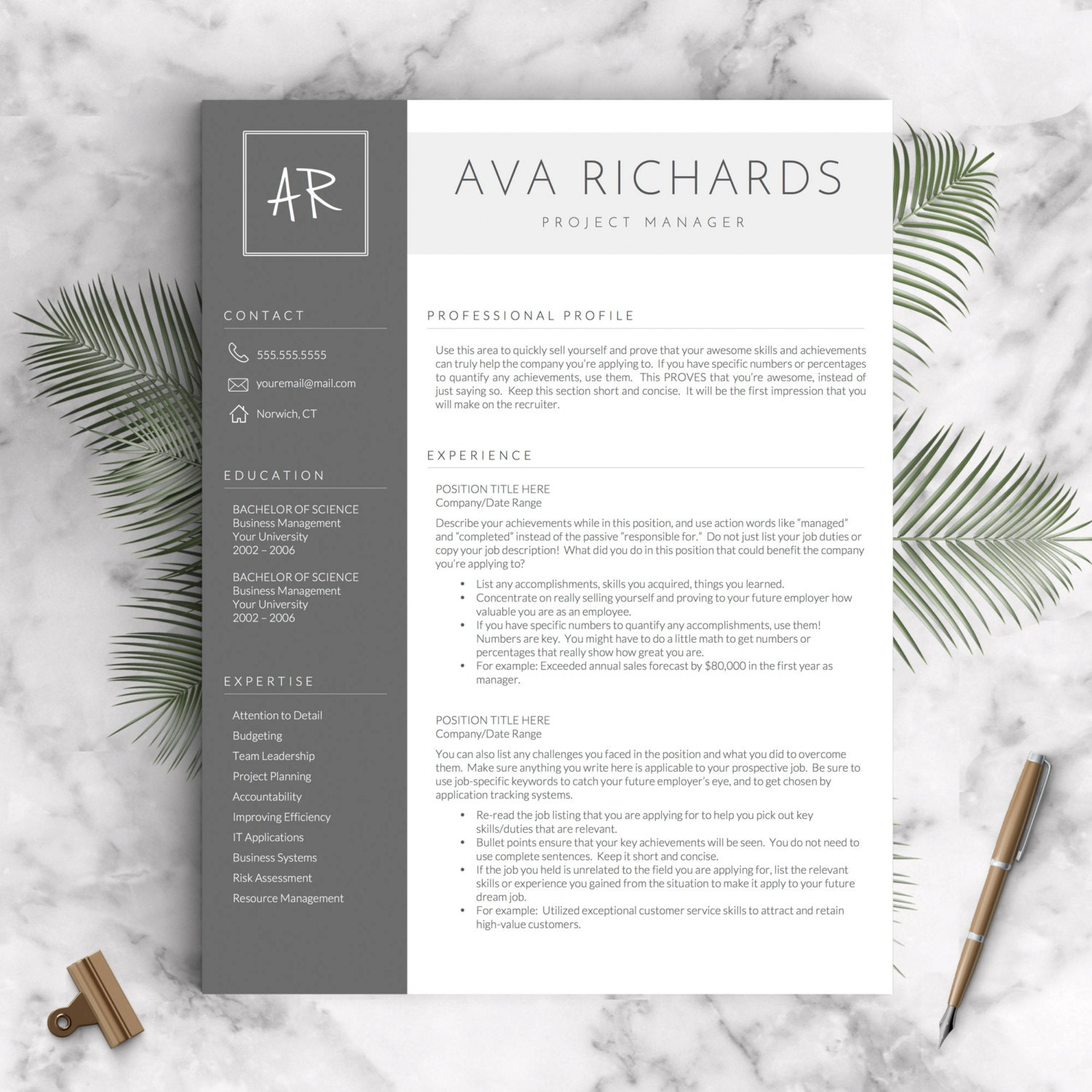 zoom - Modern Resume Template Word