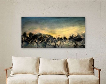 Tropical Sunset Painting Palm Trees Landscape - Original Canvas Art - Ready to Hang 24x48""