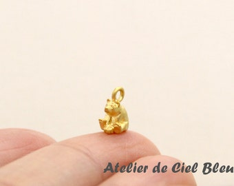 Tiny Bear Charm, Very Small Bear Charm, Tiny Matt Gold Bear Charm, Matt Gold Bear Pendant, Polar Bear Charm, Animal Charm
