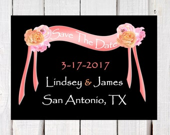 Save the date - wedding announcements - destination wedding announcements -  Chalkboard - pink and coral - wedding announcements