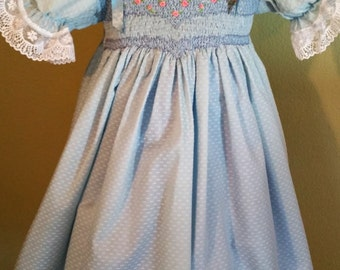 smocked blue dress size 4