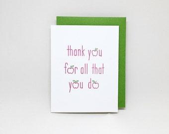 Teacher Thank You Card: Apples // letterpress teacher card, card for teacher, teacher gift, teacher appreciation, teacher thank you, apple