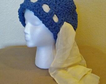 Winter Hat, Crochet Beanie, Woman's Crochet Hat. Blue Hat, READY TO SHIP