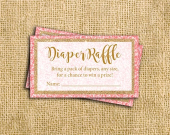 Coral Baby Shower Diaper Raffle Cards - Baby Shower Game - Digital Instant Download - Pink Gold Glitter Princess Glam and Glitz Cards