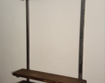 rustic coat rail hooks and shoe rack unit .