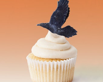 Edible Cake Decorations -  Halloween Crows, Blackbirds, 3-D Triple Sided Wafer Paper Toppers for Cakes, Cupcakes or Cookies - Set of 4