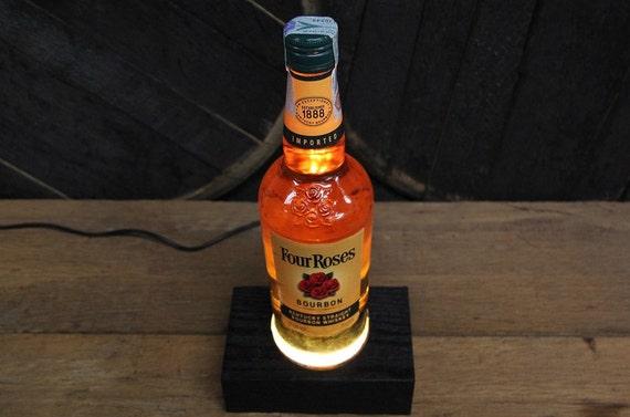 Bottle Display Stand With Lighting, Bottle Illuminator, Wooden Glorifier, Reclaimed Barnwood Light-up Base, Unique Lighting, Bourbon Gift