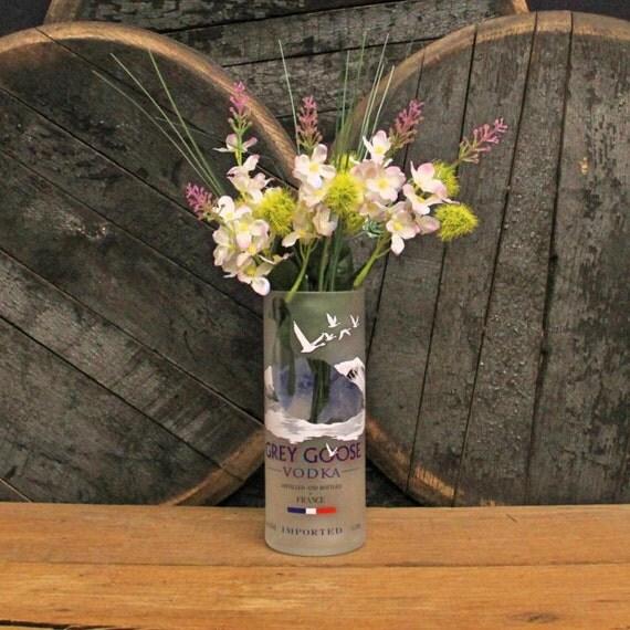 Grey Goose Vodka Vase, Utensil Holder, Ice Bucket, Centerpiece, Craft Supply, Empty Top Cut Bottle, Desk Organizer, Recycled Bottle Decor