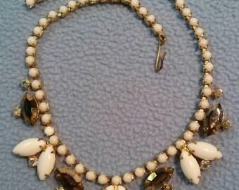 """SALE!! Absolutely Fabulous Milkglass & Rhinestone 15"""" Choker Necklace- Flower Design (was 14.00)"""