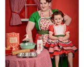 Mommy and Me Retro Rockabilly Pinup 50s Apron Set