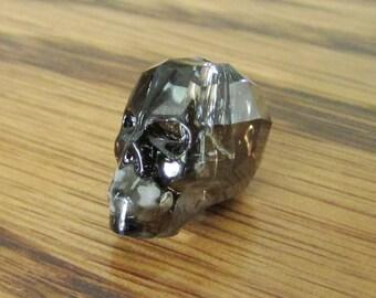 1pc 13mm Crystal Skull Bead, Swarovski 5750, Crystal Silver Night, Swarovski Skull 5750, Goth Beads, 13mm Skull, Gray Crystal, Halloween