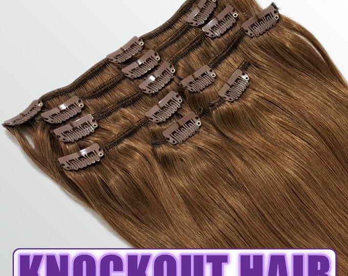 "Clip In Human Hair Extensions 18"" - 120 Grams Full Head Remy Premium Grade AAAAA Double Wefted (Light Natural Brown #7A)"