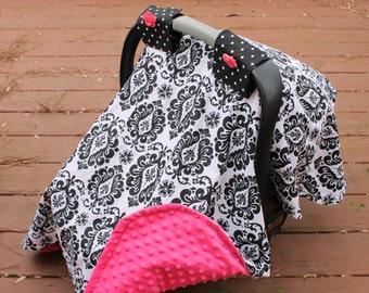 Girls Black and White Damask & Pink Minky Carseat Canopy
