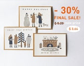 set of 3 winter postcards. christmas postcards. new year postcards.