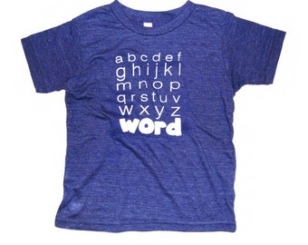 KID abc t shirt, word, school, unisex, graphic, cotton blend, super soft, abcs, made in USA, katefoxapparel, vintage, blue, original, screen
