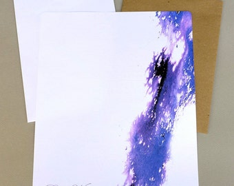 Stationary Paper, Personalized Stationery Set, Writing Paper, Letter Writing Set, Correspondence Paper, Purple Passion Watercolor Splash