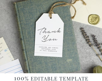 Wedding Favor Tag Template, Printable Hang Tags, Word or Pages, Mac or PC, Library Book Suite, Instant DOWNLOAD