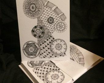 Six Blank Cards - Mandalas - B&W - Drawing - Greeting Card - Print