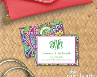 Hibiscus Paisley Calling Cards - Preppy Personal Business Card - Pink & Green Casual Contact Card - Preppy Mommy Card - Custom Calling Card