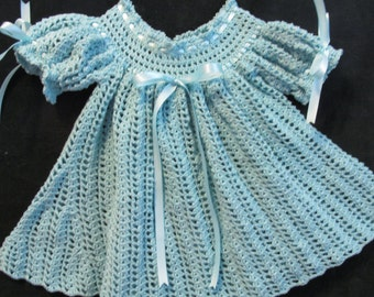 Crochet Baby Dress.  Aqua.  Size 6 to 9 months