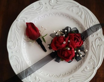 ON SALE Wrist Corsage Red & Black with Matching Boutonniere   Red Rose Corsage Set