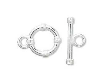 Sterling Silver Toggle Clasp, 15mm, Round with rope wrap