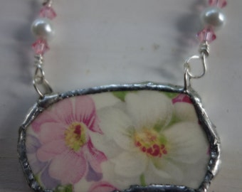 Broken china jewelry- broken china pendant necklace- pink and white flower vintage china necklace