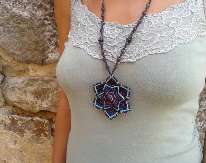 MANDALA  necklace, macrame mandala, reversible necklace with volume, six -pointed star, mystical necklace, amatiste, magic jewelry