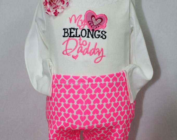 Valentines Day outfit baby girl,Daddy's Valentine girl bodysuit, Valentine Leggings,Hot Pink First Valentines day clothing set for baby