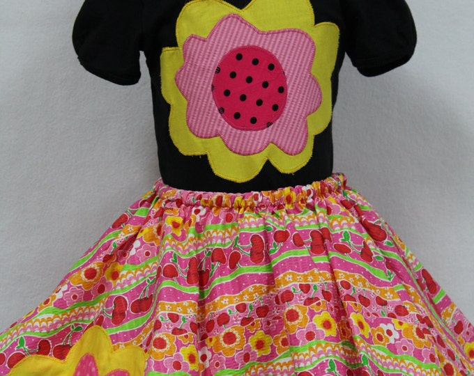 Girls Summer Watermelon outfit,Girls Twirl skirt and top, Toddler outfit, Toddler twirl skirt set, floral skirt set,Personalized girl shirt