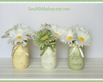 Spring Mason Jar Set-Easter Decor-Shabby Chic Decor-Pastel-Baby Shower Decor-Vintage Decor-Wedding Decor-Spring Decor-Spring Centerpieces