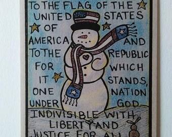 Patriotic Holiday Snowman Christmas Gift Card, Military Americana Christmas Card, Cute Recycled Paper Snowman Seasonal Military Cards, USA,