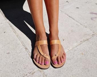 Slip on Leather Sandals, Summer Sandals. Greek Sandals Flat Leather Slides. Handmade in Greece.