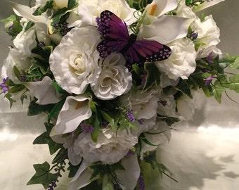 Wedding Flowers Calla Lily Teardrop Bouquet, Purple Butterfly