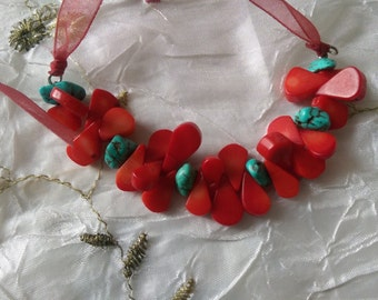 Turquoise and Resin strawberry slices Necklace