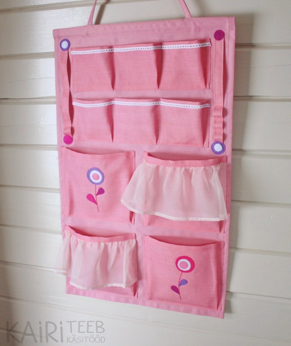 Wall organizer pink girls room hanging pocket storage by