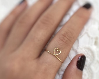 Gift - Gold heart ring, heart knuckle ring,heart ring, gold ring, Above the Knuckle, love ring, Minimalist Jewellery, for her, infinity ring