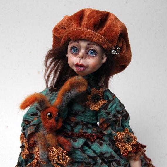 Handmade Doll Candy Friend Rabbit | Art Doll OOAK | Collectibles Doll | Artist Doll | Polymer Clay Doll | Art Doll