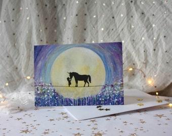 Kiss Unicorns, Unicorn Card, Vibrant and magical, Standard blank Greeting Card, fine art card.