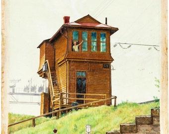 """Victor Olson """"Living in Black Rock"""" Painting Original Art"""