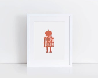 BEEP BOOP / robot / wall art / linocut print