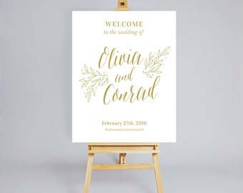 Printable Wedding Welcome Sign / Wedding Decoration / Digital Wedding Welcome Sign / Customized Welcome Sign / Sign Gold / Floral Sign