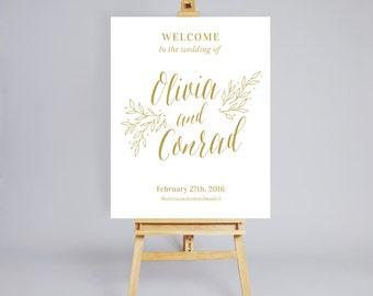 Imprimable signe de bienvenue de mariage / décoration de mariage / numérique mariage plaque de bienvenue personnalisé plaque de bienvenue / or / Floral signe