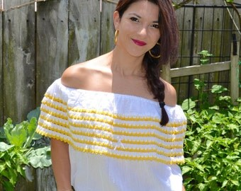 Mexican Blouse // Peasant Blouse  // Mexican Peasant Blouse // Stripped Peasant Blouse