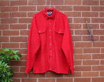 RED CORDUROY SHIRT, Vintage Bonkers Cord Shirt