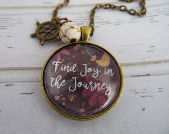 Joy in the Journey Necklace with White Turquoise, Graduation, Necklace with Chain, Inspirational, Cheer Up, Motivational Gift, Keychain