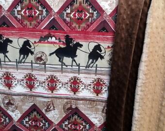 Cowboy minky blanket,Country western throw,Lap Blanket,Rodeo Blanket,Western blanket,Western Throw,Cowboy blanket,Western Baby Blanket,