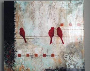 Abstract, Acrylic Painting, Cardinal Painting, Contemporary Art, Hand painted, Glassy finish, Birds on a Wire, Beautiful, Artsomi, original