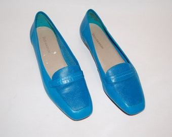 9 1980's Cobalt Blue Enzo Angiolini Leather Loafers size 9