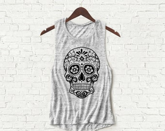 Sugar Skull - Womens Muscle Tank - Gray